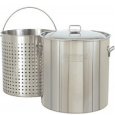 CRAWFISH POT 102 Qt. Stockpot w/Lid & Basket- Stainless