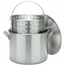 CRAWFISH POT 80 Qt. Stockpot w/Lid & Basket- Aluminum