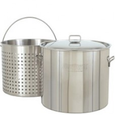 CRAWFISH POT 82 Qt. Stockpot w/Lid & Basket- Stainless