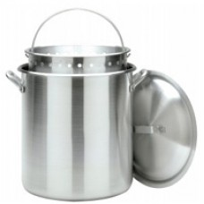 Crawfish Pot 120 Qt. Stockpot w/Lid & Basket- Aluminum