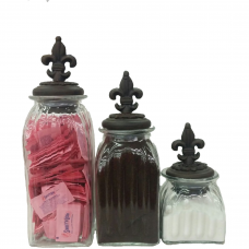 Fleur De Lis Glass Canisters ( Set of 3)